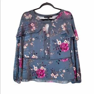 WHBM Slate Blue Floral Layered Blouse